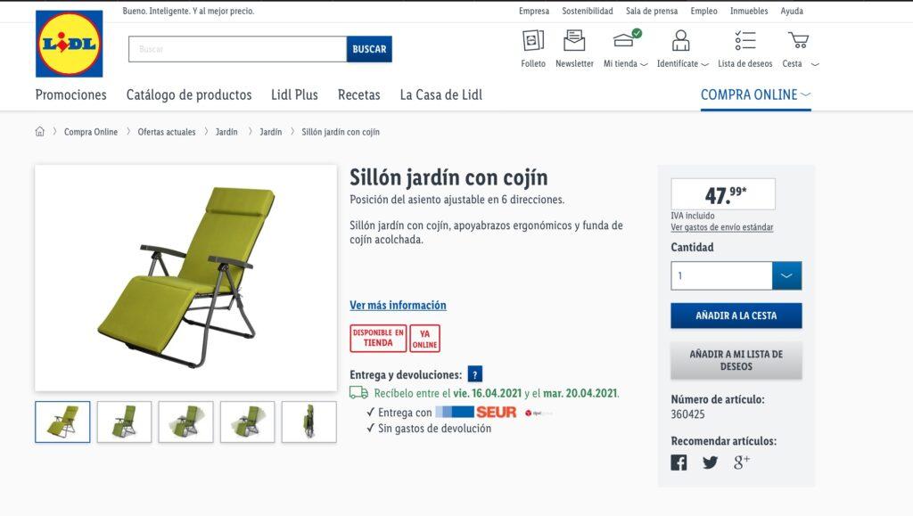 Ficha Tecnica Sillon Lidl